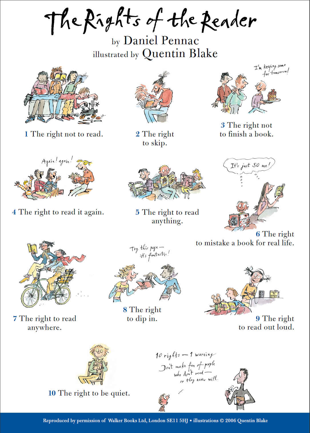 Image result for the rights of the reader by daniel pennac poster