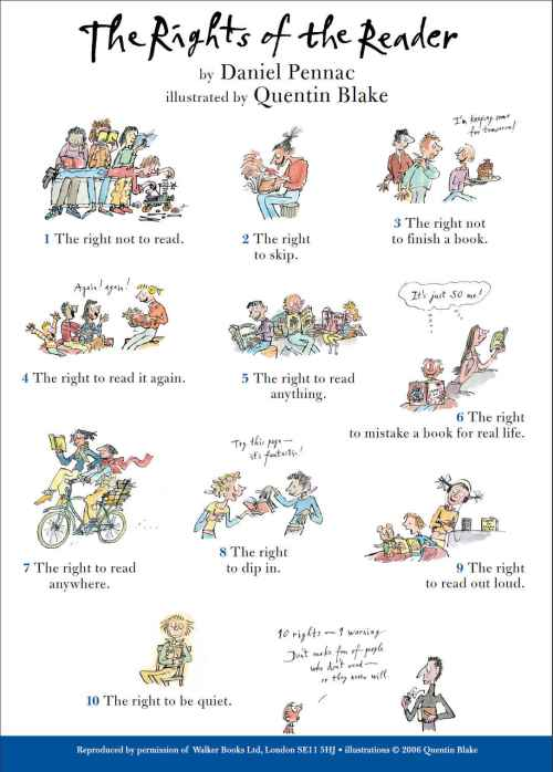 The rights of the reader (by Daniel Pennac, illustrated by Quentin Blake)